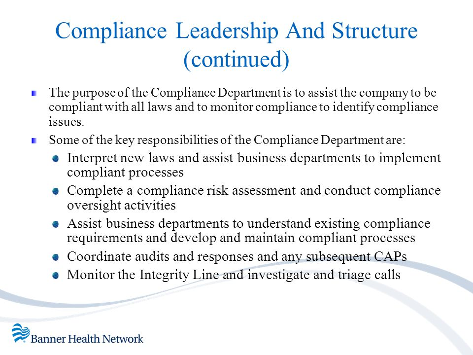 Compliance Leadership And Structure (continued)