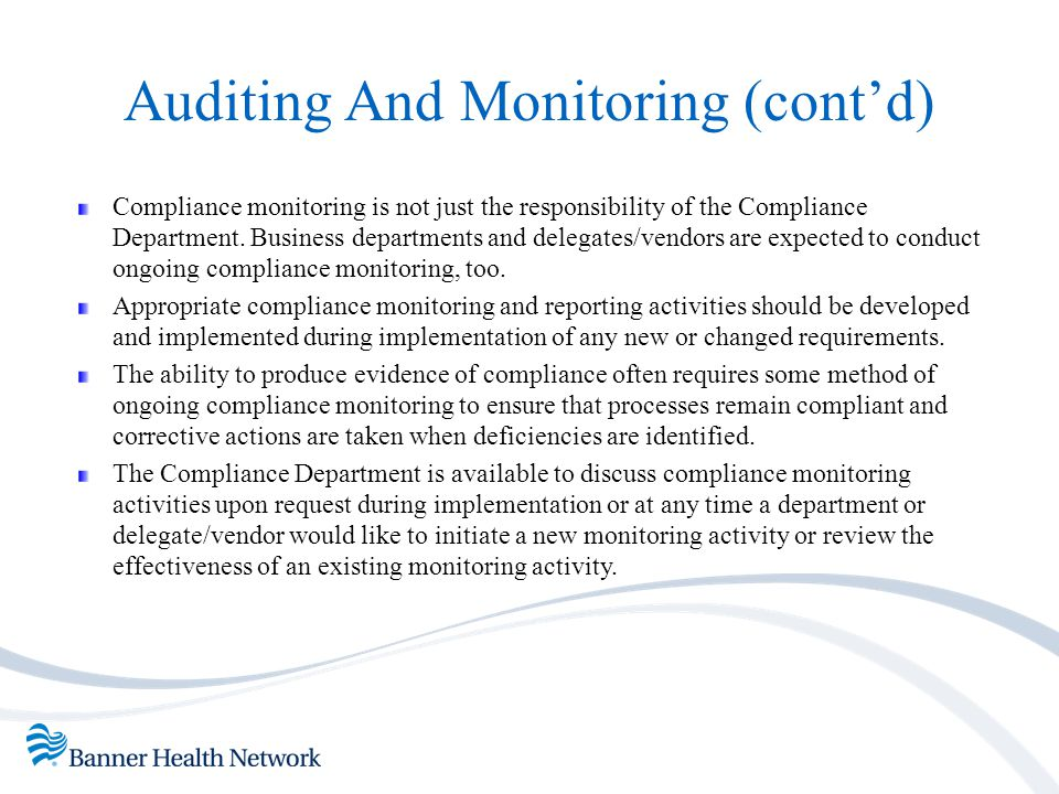 Auditing And Monitoring (cont'd)