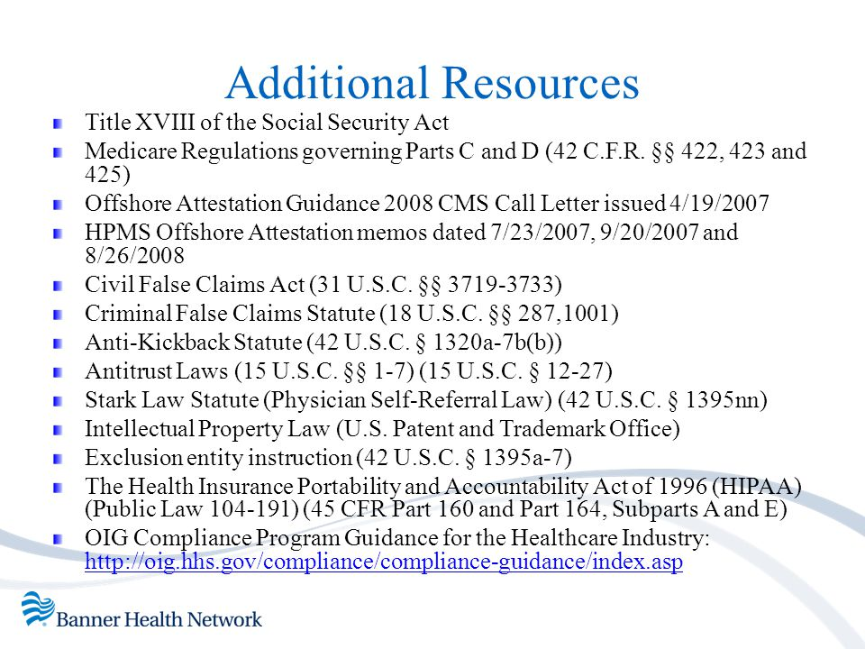 Additional Resources Title XVIII of the Social Security Act