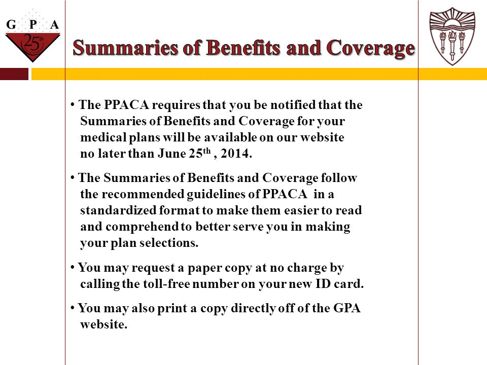 Summaries of Benefits and Coverage