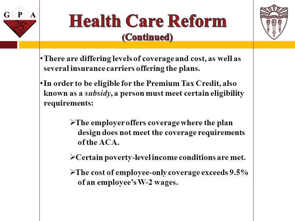 Health Care Reform (Continued)