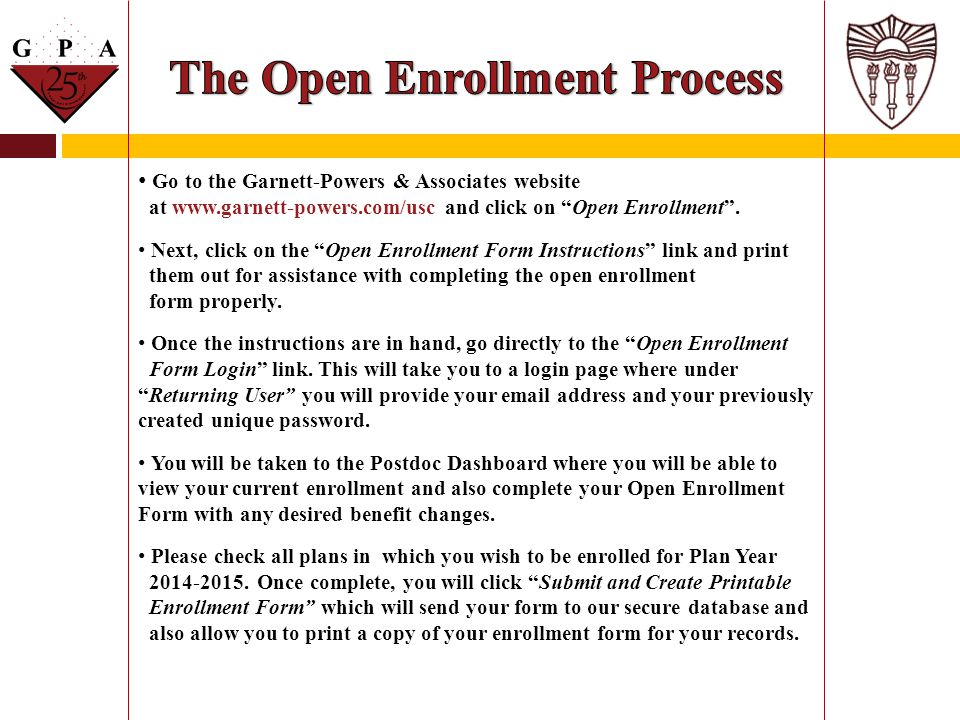 The Open Enrollment Process