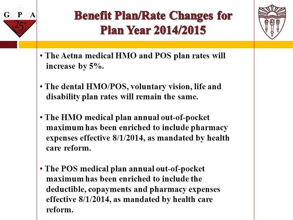 Benefit Plan/Rate Changes for