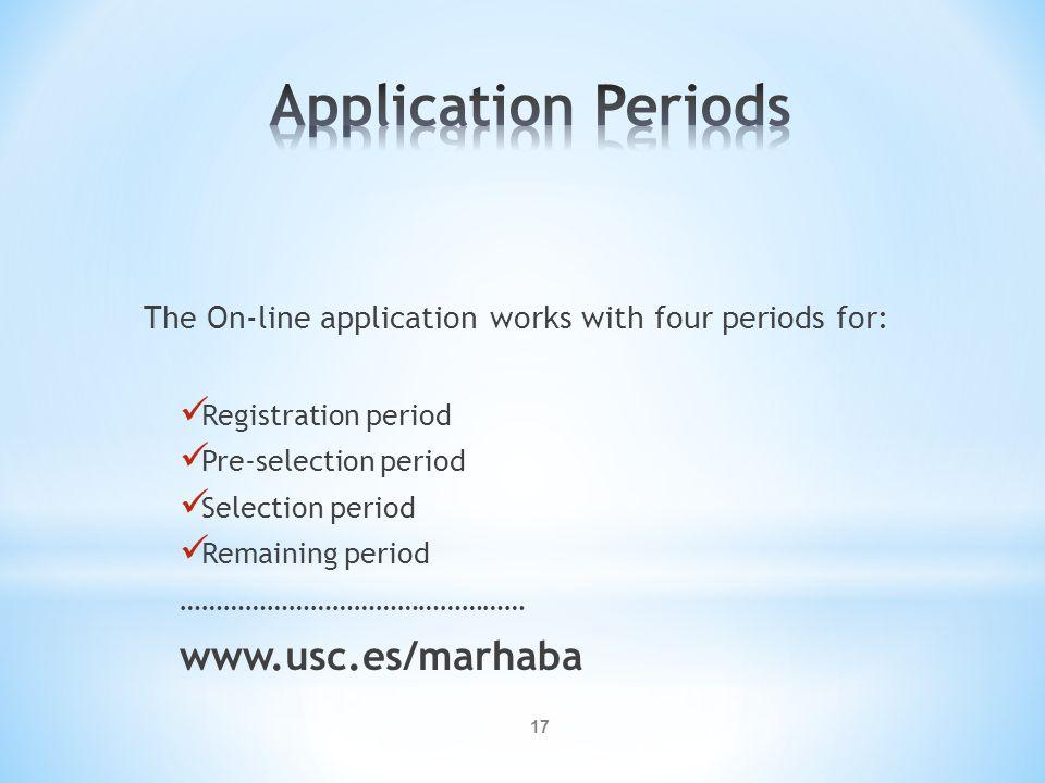 Application Periods www.usc.es/marhaba