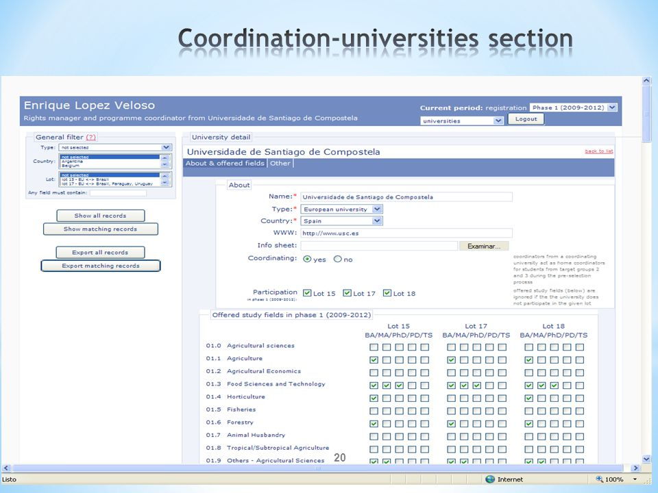 Coordination-universities section