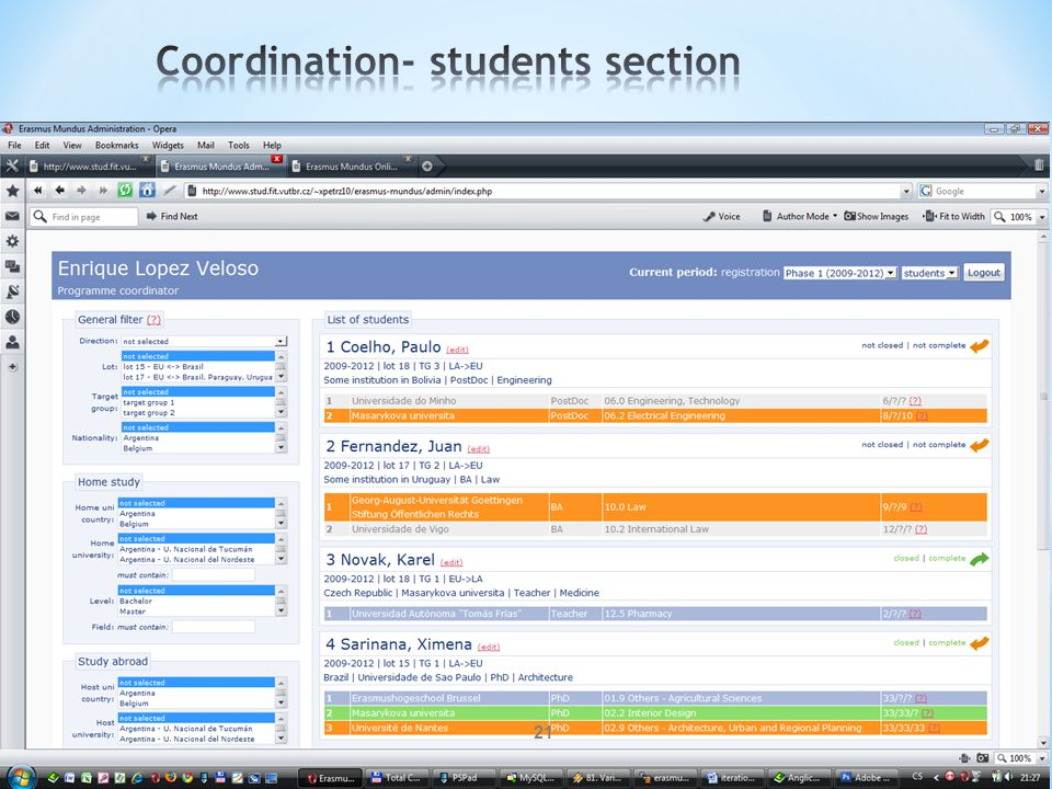 Coordination- students section