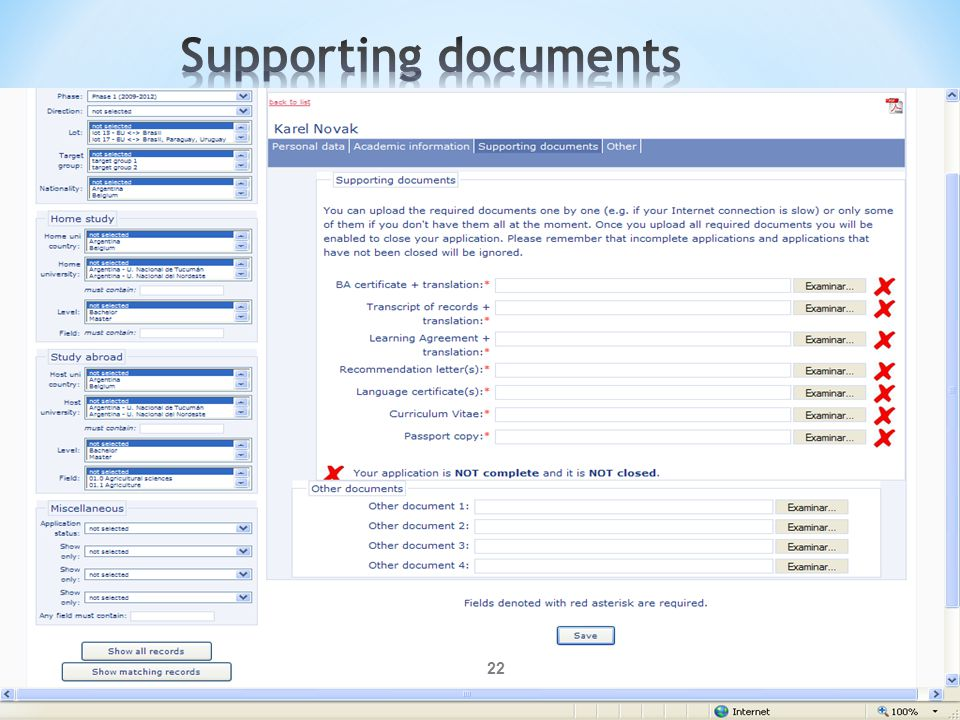 Supporting documents Coordinators may also check all the uploaded documents.