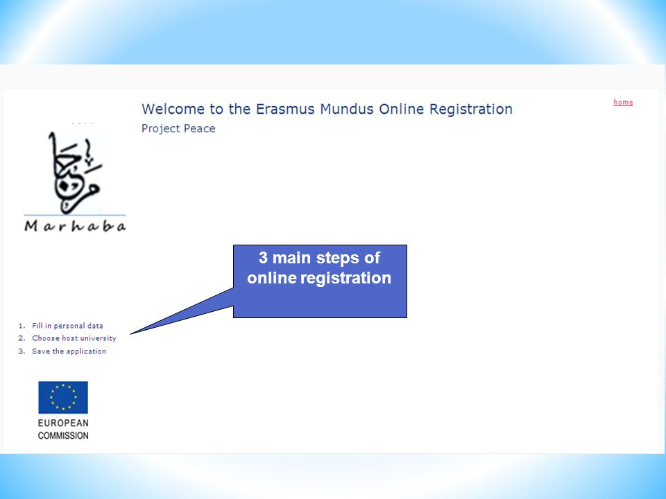 3 main steps of online registration
