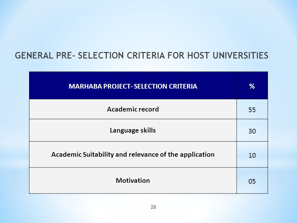 GENERAL PRE- SELECTION CRITERIA FOR HOST UNIVERSITIES