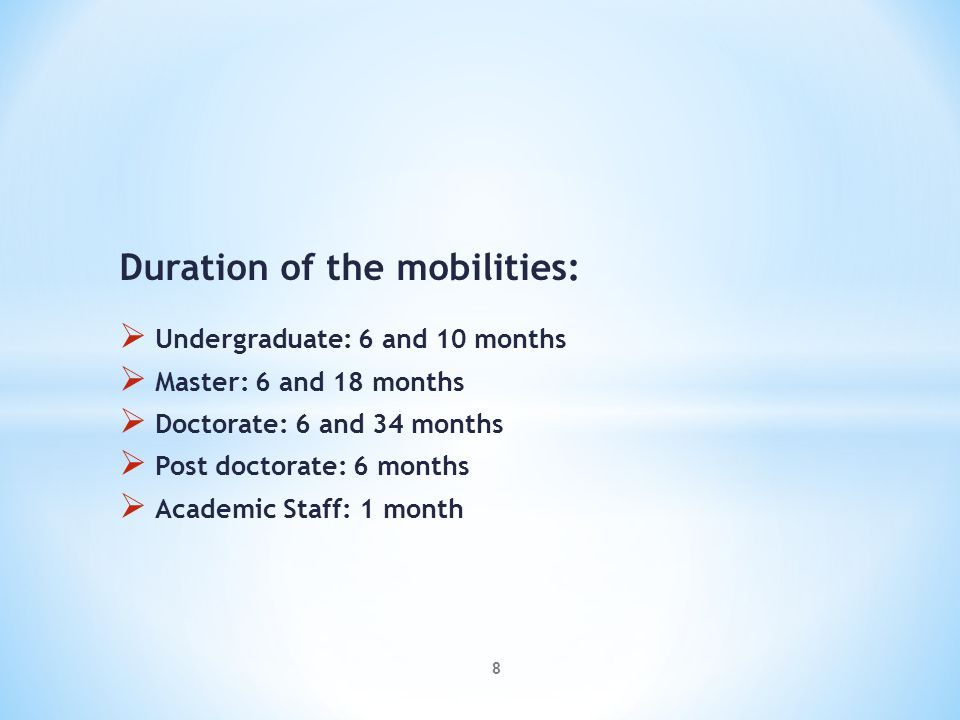Duration of the mobilities: