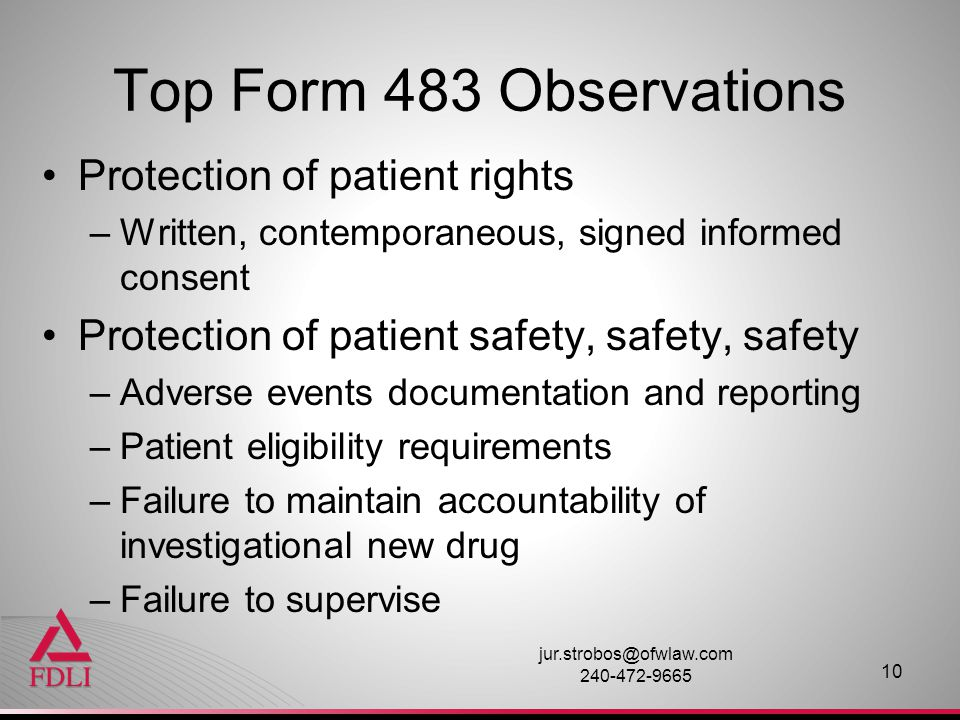 Top Form 483 Observations Protection of patient rights