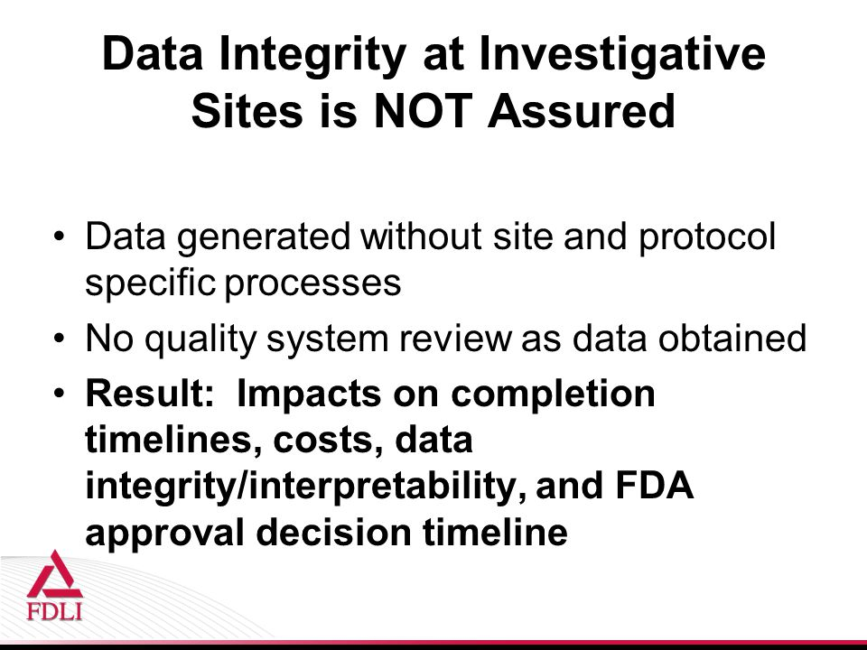 Data Integrity at Investigative Sites is NOT Assured