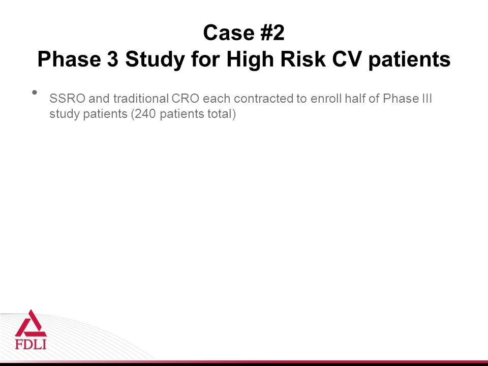 Case #2 Phase 3 Study for High Risk CV patients