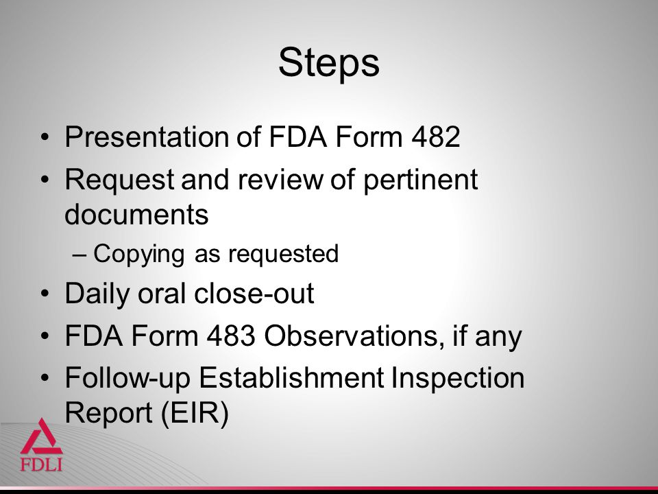 Steps Presentation of FDA Form 482