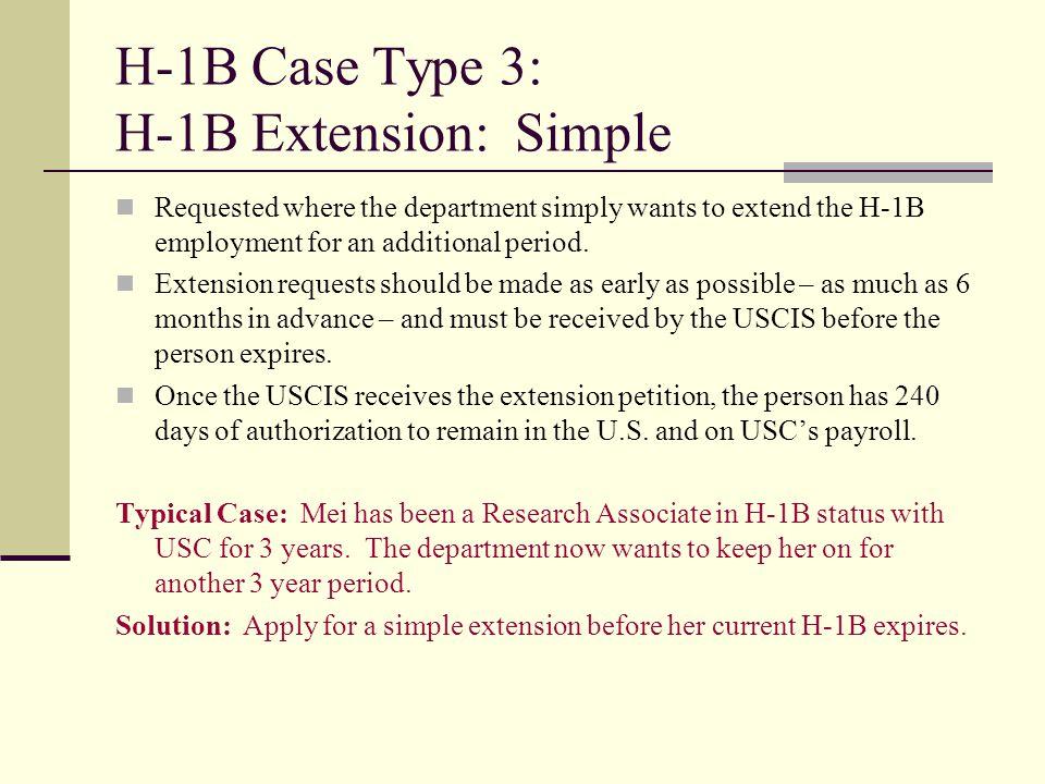 H-1B Case Type 3: H-1B Extension: Simple