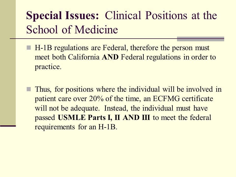 Special Issues: Clinical Positions at the School of Medicine