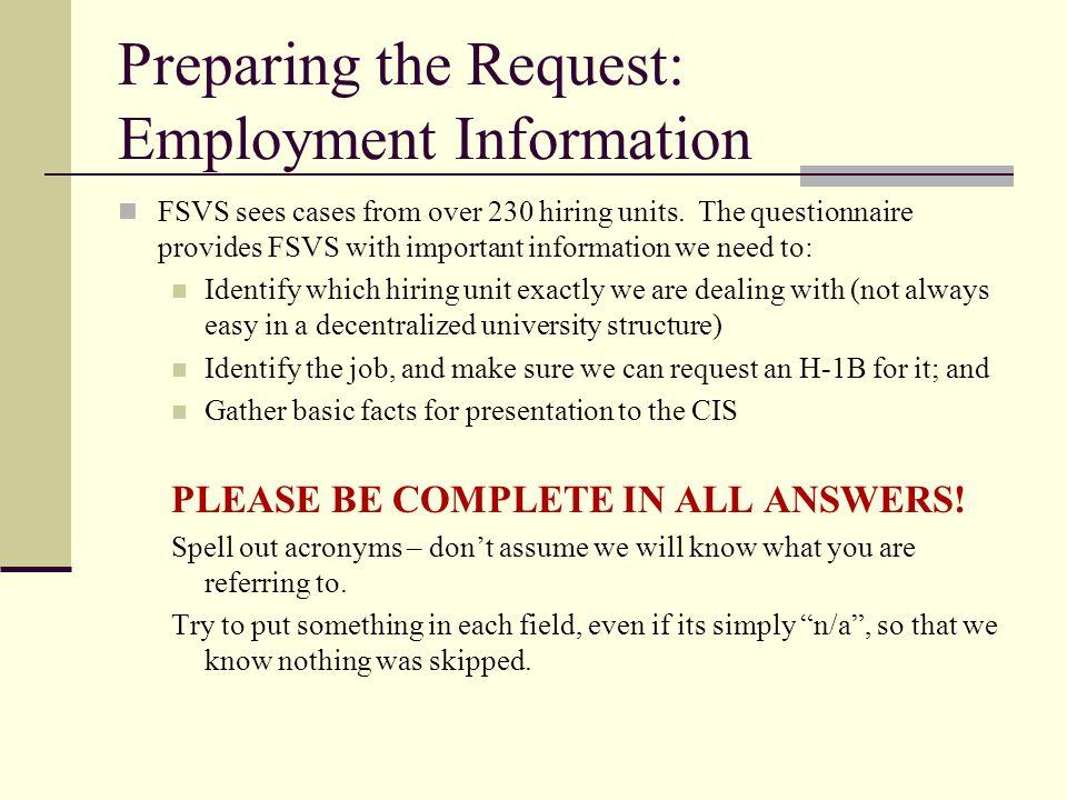 Preparing the Request: Employment Information