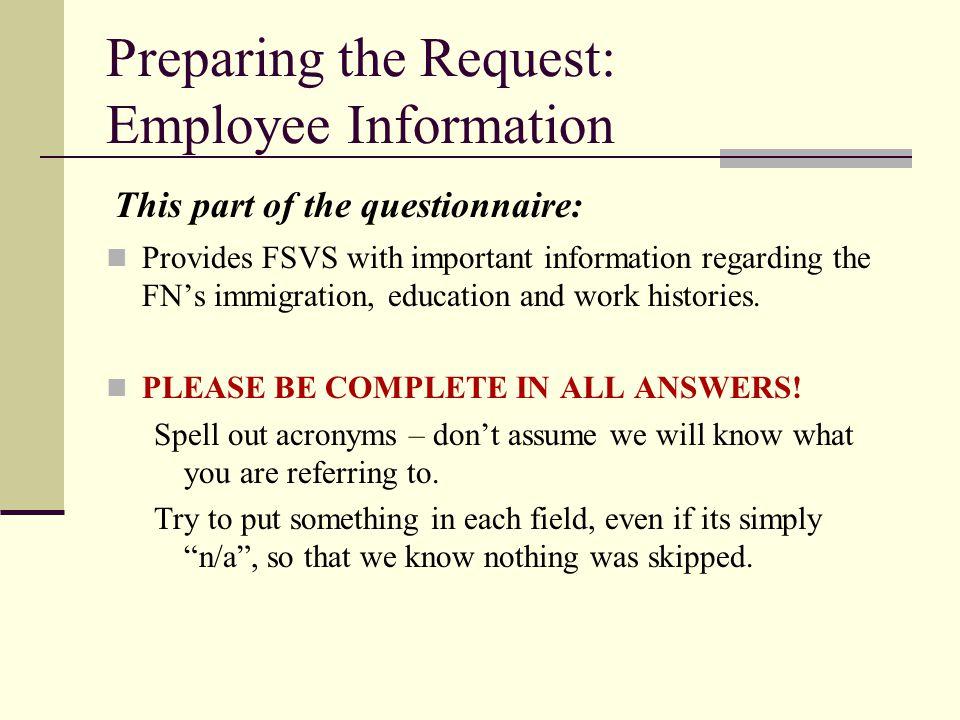 Preparing the Request: Employee Information