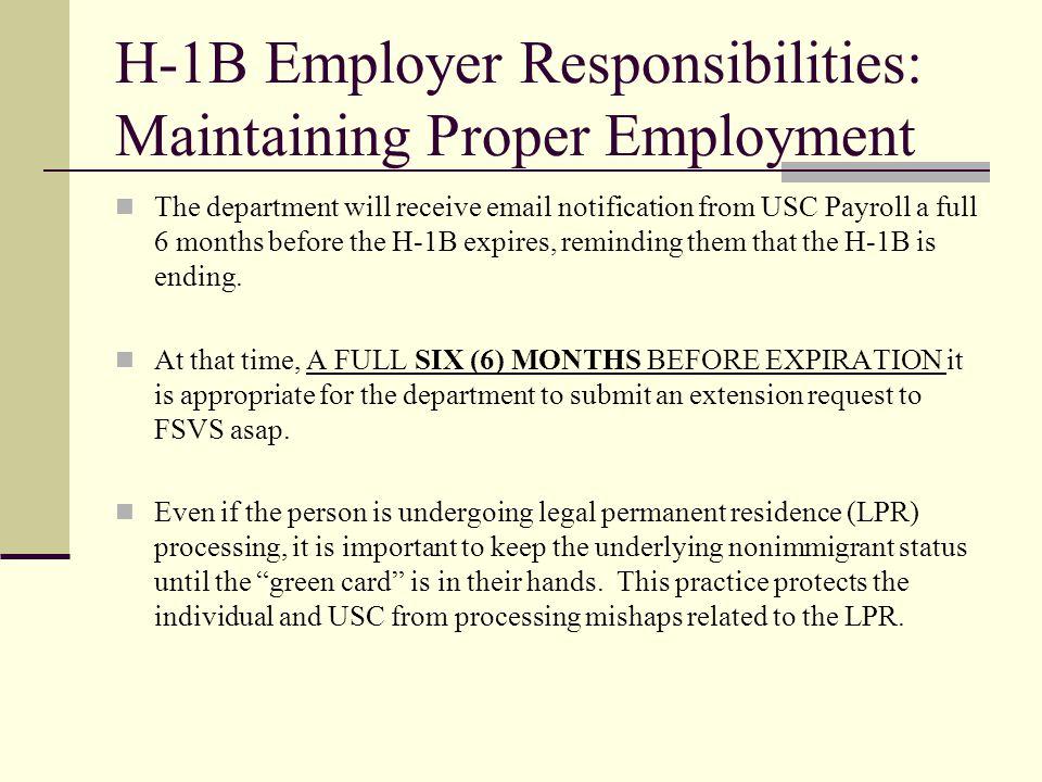 H-1B Employer Responsibilities: Maintaining Proper Employment