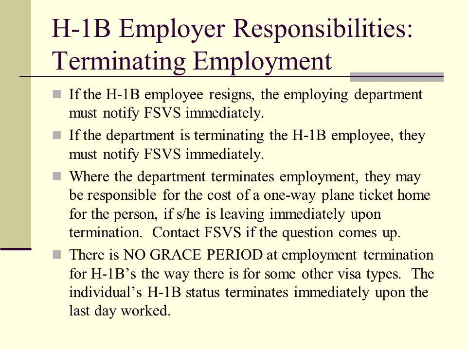 H-1B Employer Responsibilities: Terminating Employment
