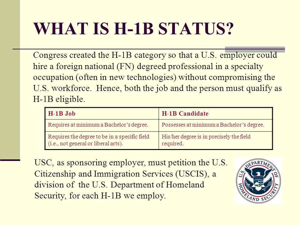 WHAT IS H-1B STATUS