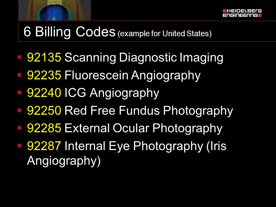 6 Billing Codes (example for United States)