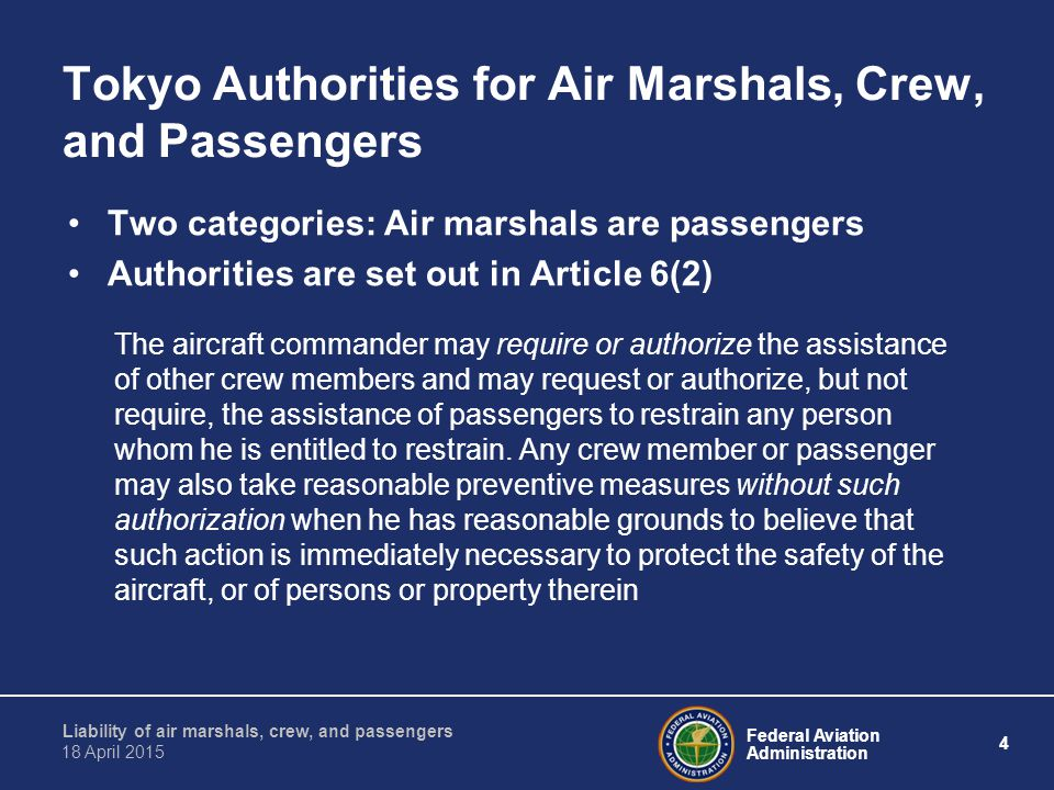 Tokyo Authorities for Air Marshals, Crew, and Passengers