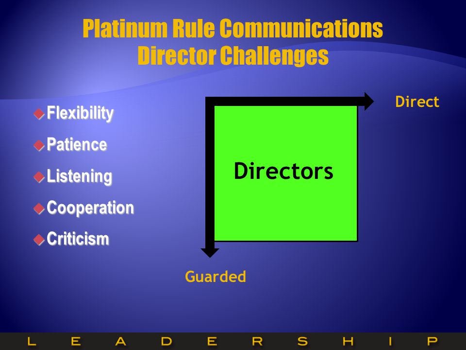 Platinum Rule Communications Director Challenges