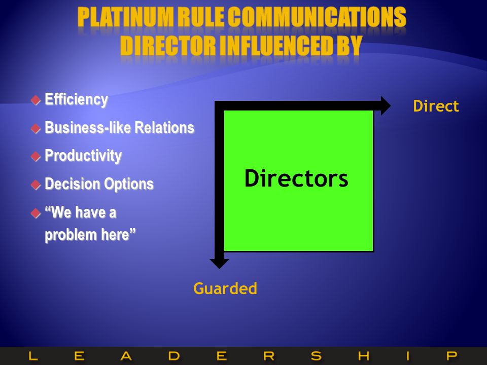 Platinum Rule Communications Director Influenced by