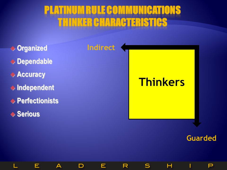 Platinum Rule Communications Thinker Characteristics