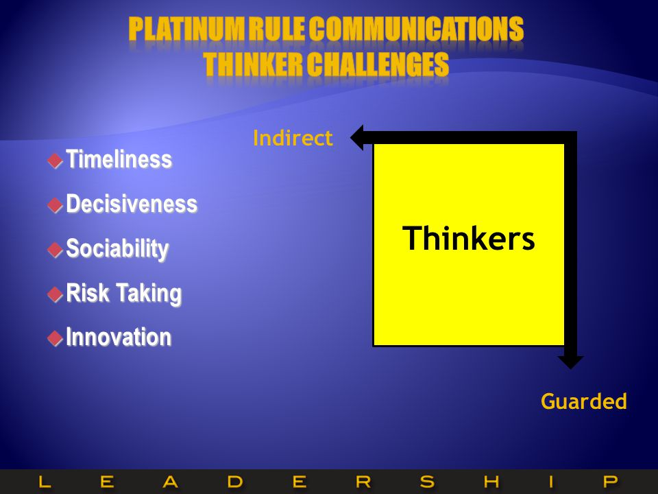 Platinum Rule Communications Thinker Challenges