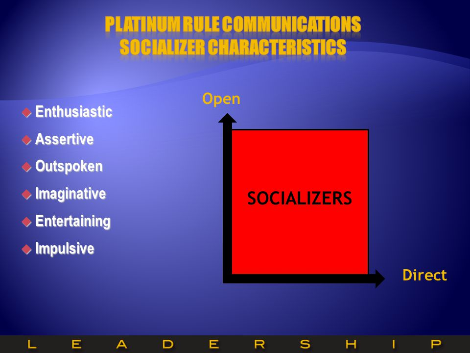 Platinum Rule Communications SOCIALIZER Characteristics
