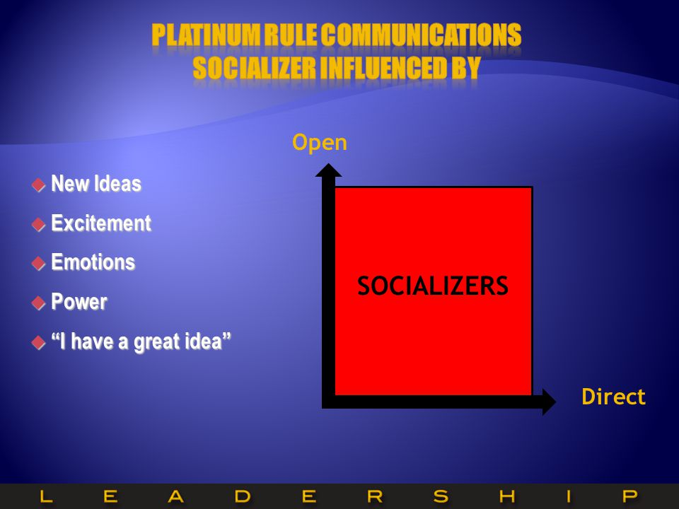 Platinum Rule Communications Socializer Influenced by
