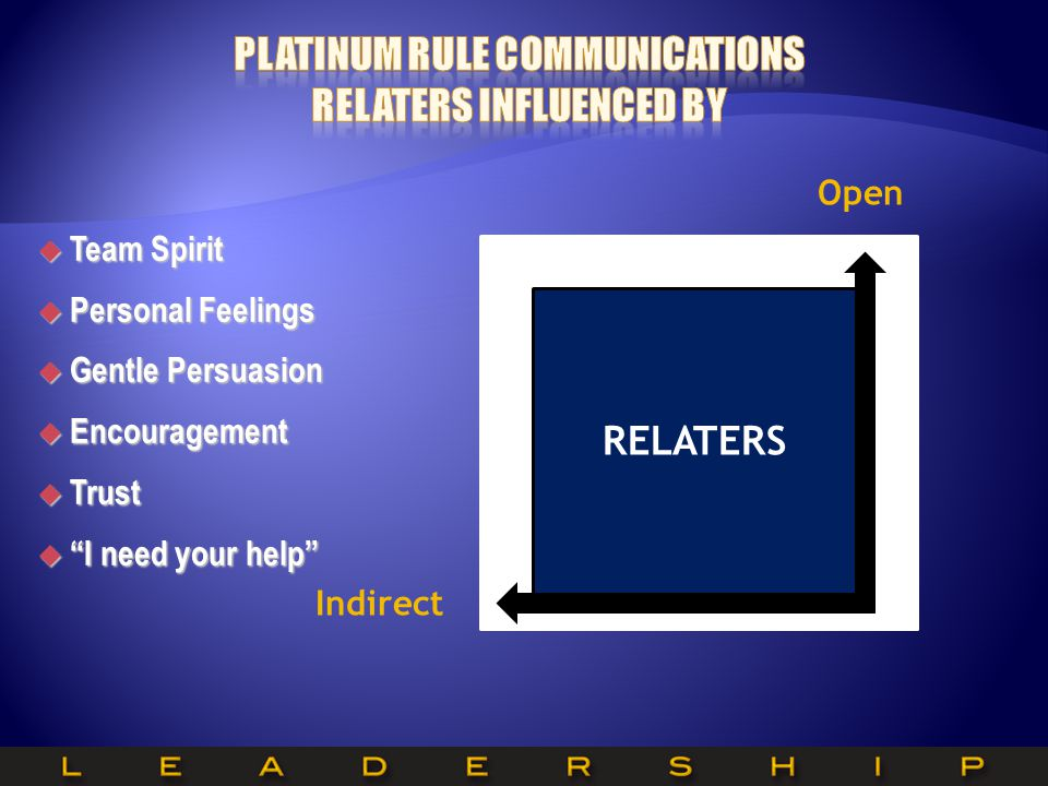Platinum Rule Communications RELATERS Influenced by