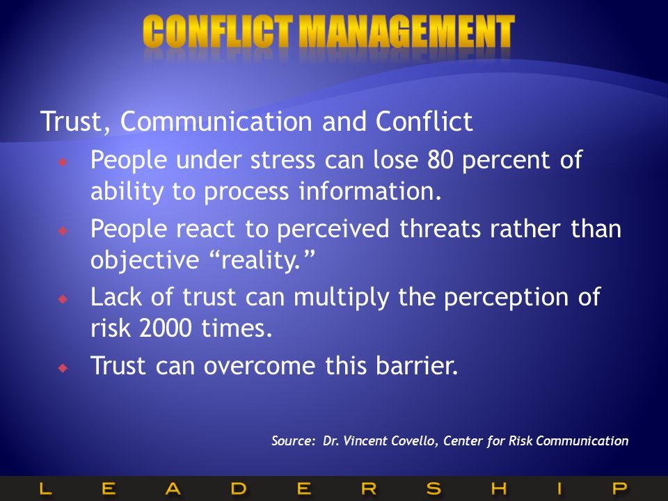 Conflict Management Trust, Communication and Conflict