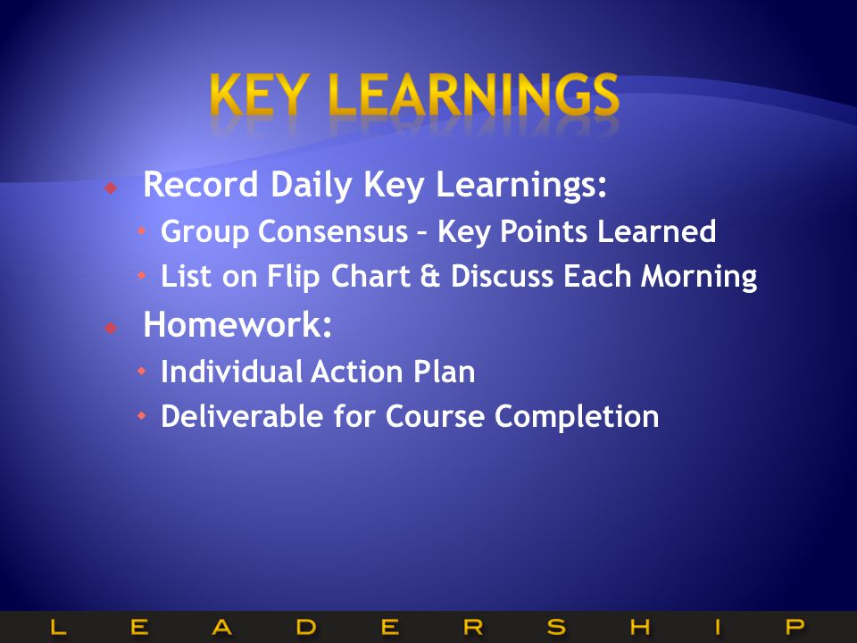 Key learnings Record Daily Key Learnings: Homework: