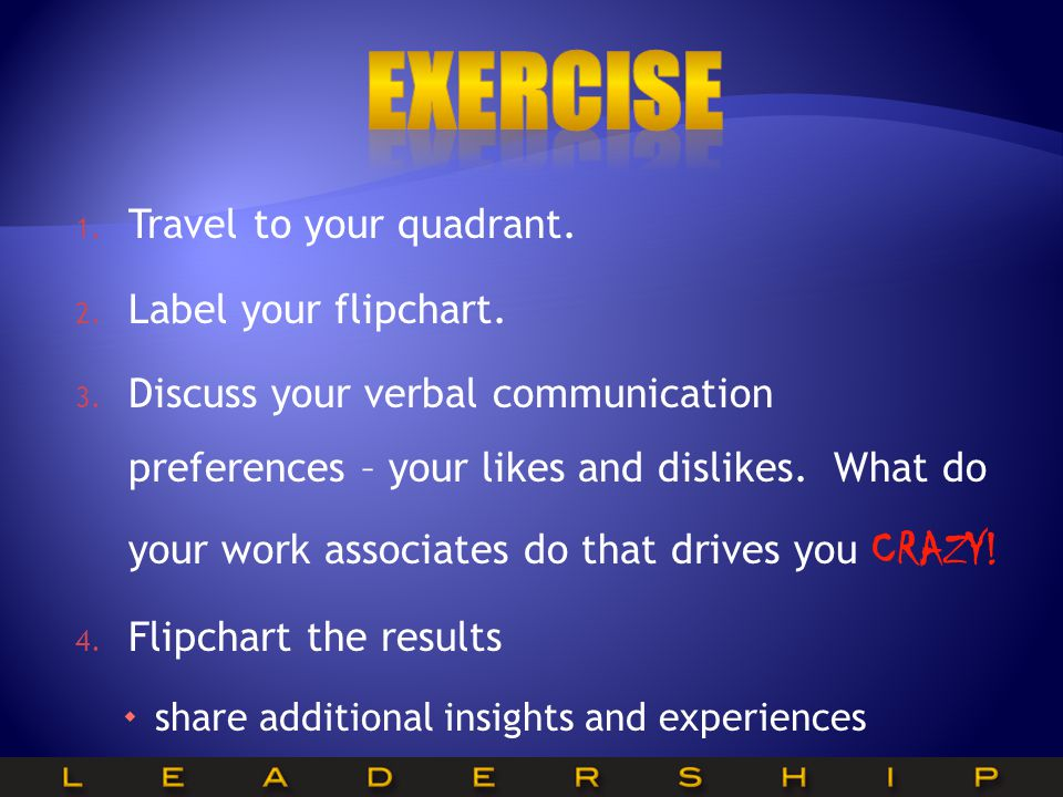 EXERCISE Travel to your quadrant. Label your flipchart.