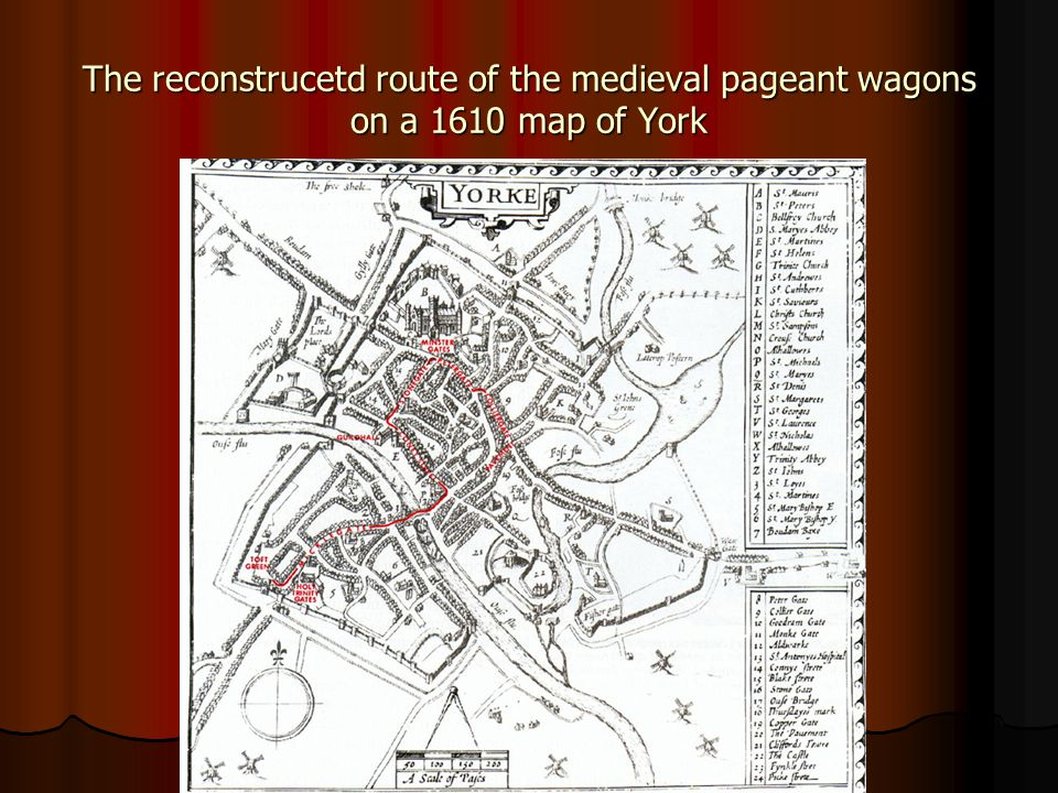 The reconstrucetd route of the medieval pageant wagons on a 1610 map of York