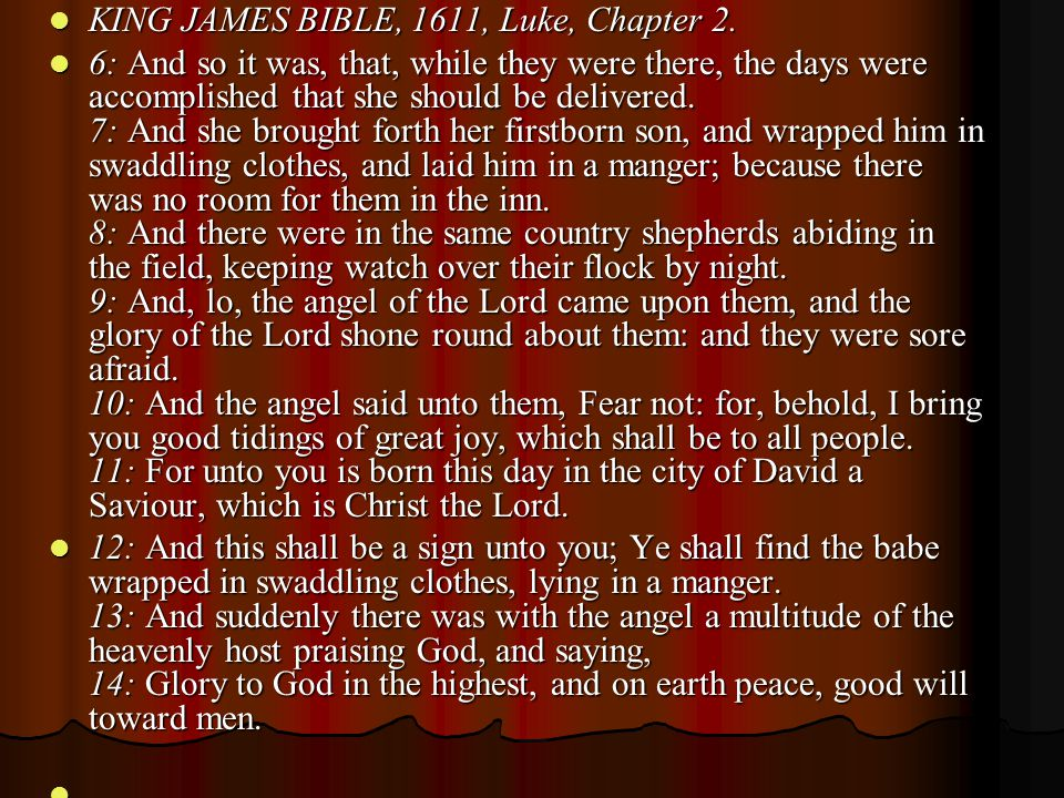 KING JAMES BIBLE, 1611, Luke, Chapter 2.