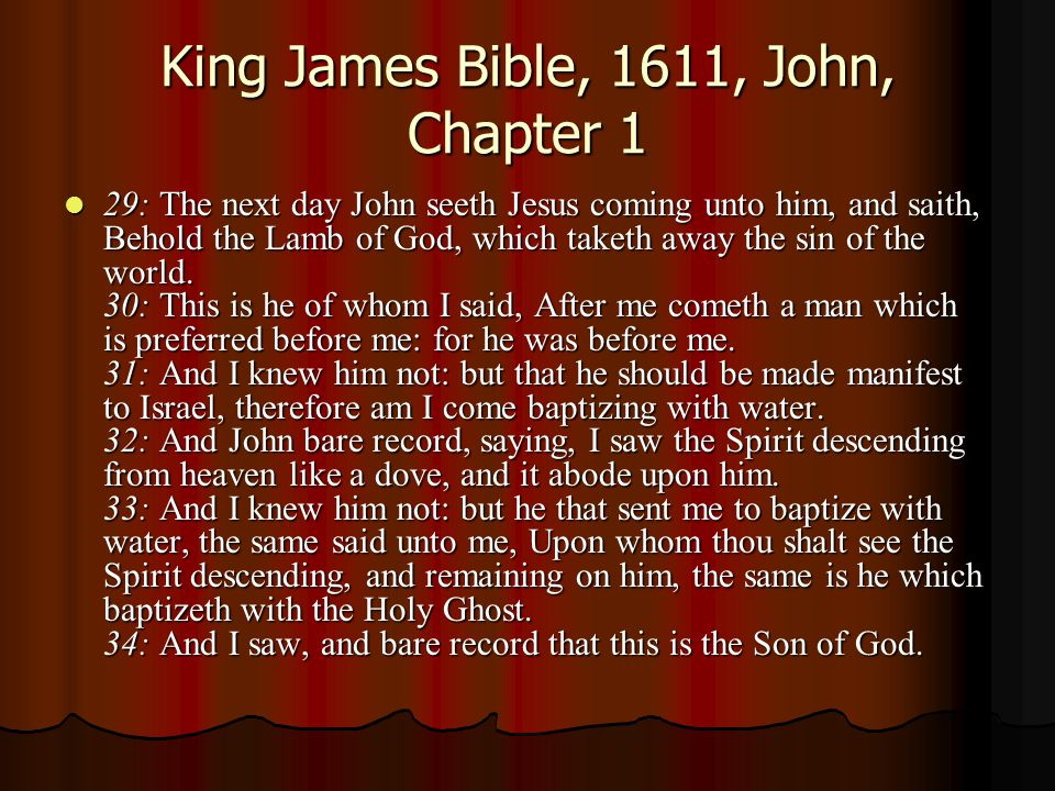 King James Bible, 1611, John, Chapter 1