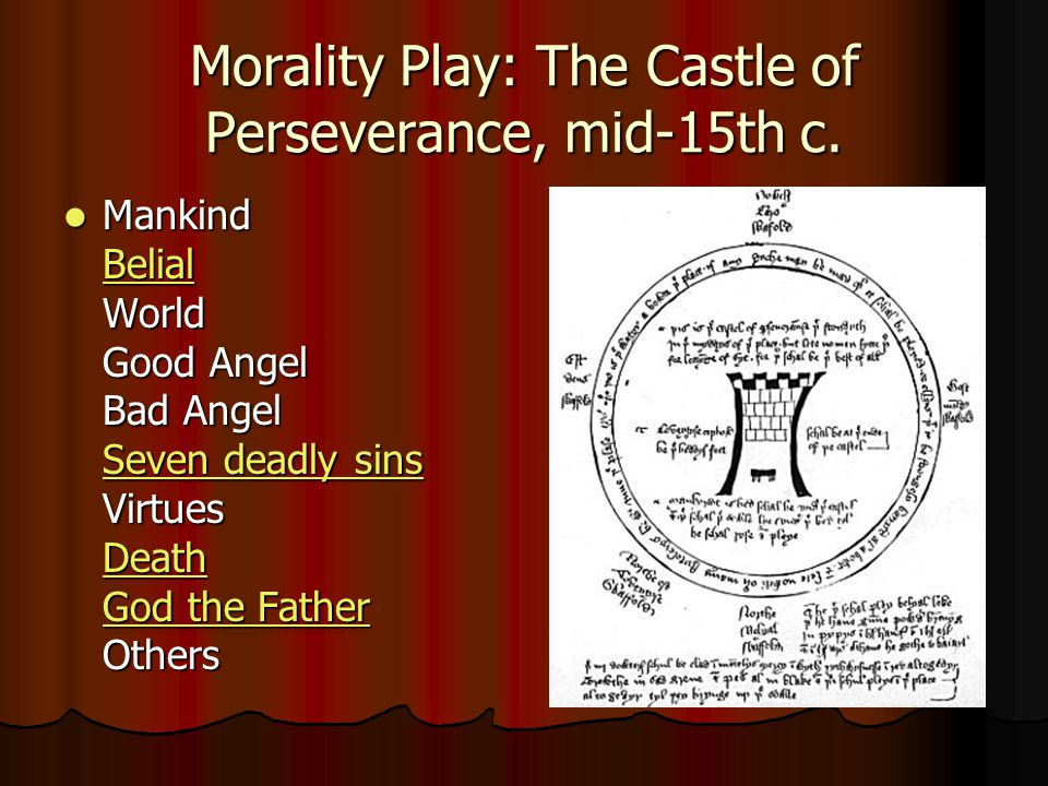 Morality Play: The Castle of Perseverance, mid-15th c.
