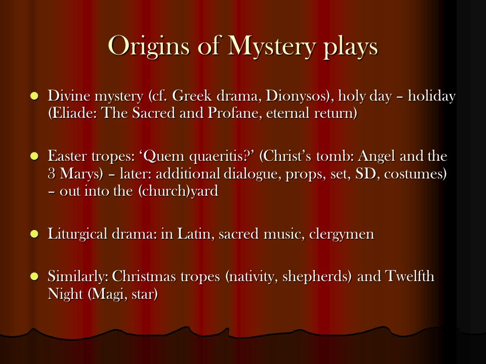 Origins of Mystery plays