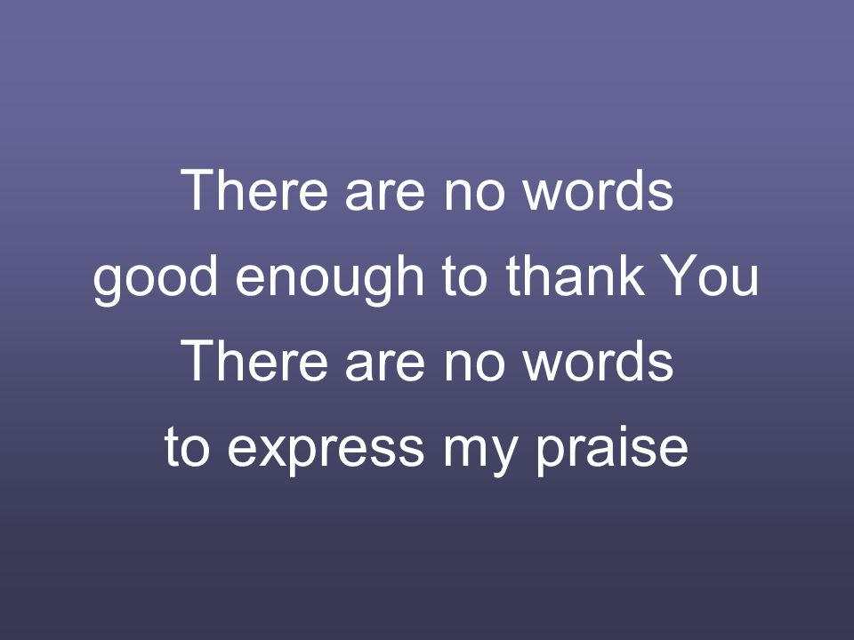 There are no words good enough to thank You There are no words to express my praise
