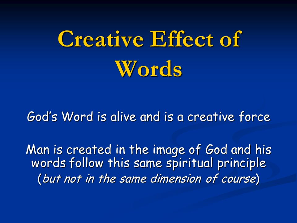 Creative Effect of Words