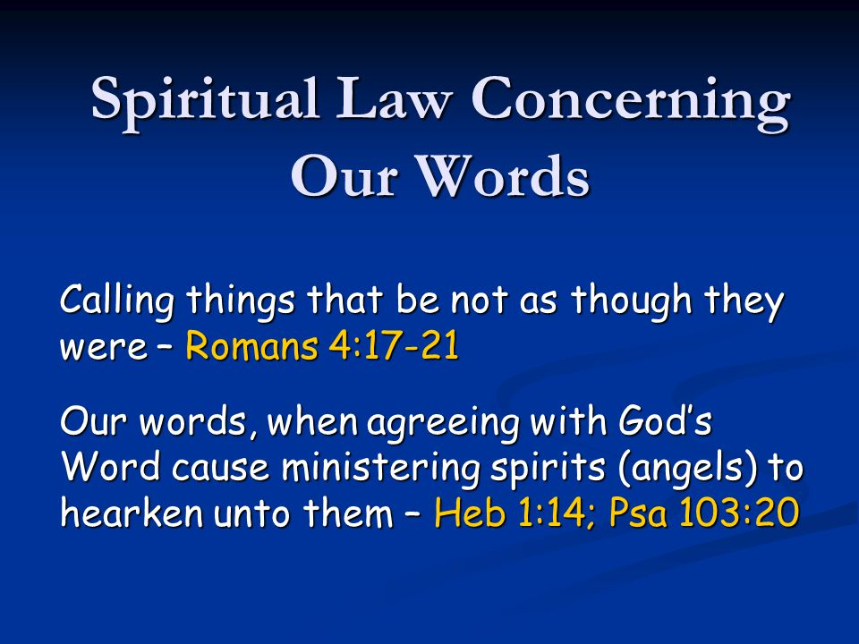 Spiritual Law Concerning Our Words
