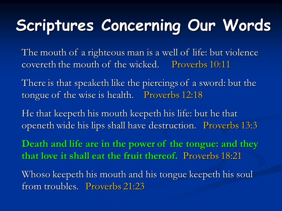 Scriptures Concerning Our Words