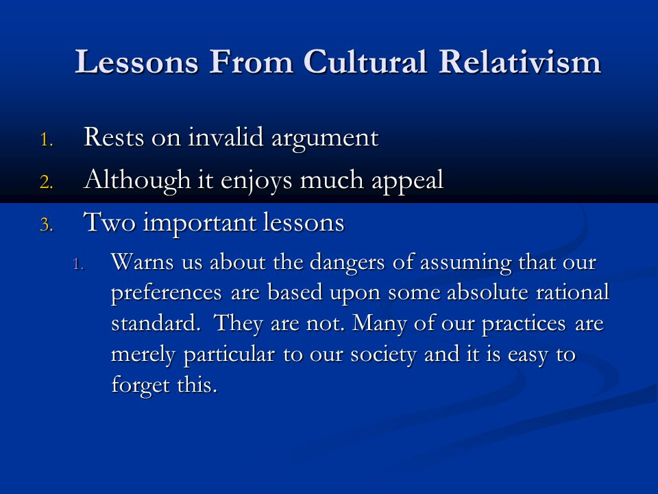 Lessons From Cultural Relativism