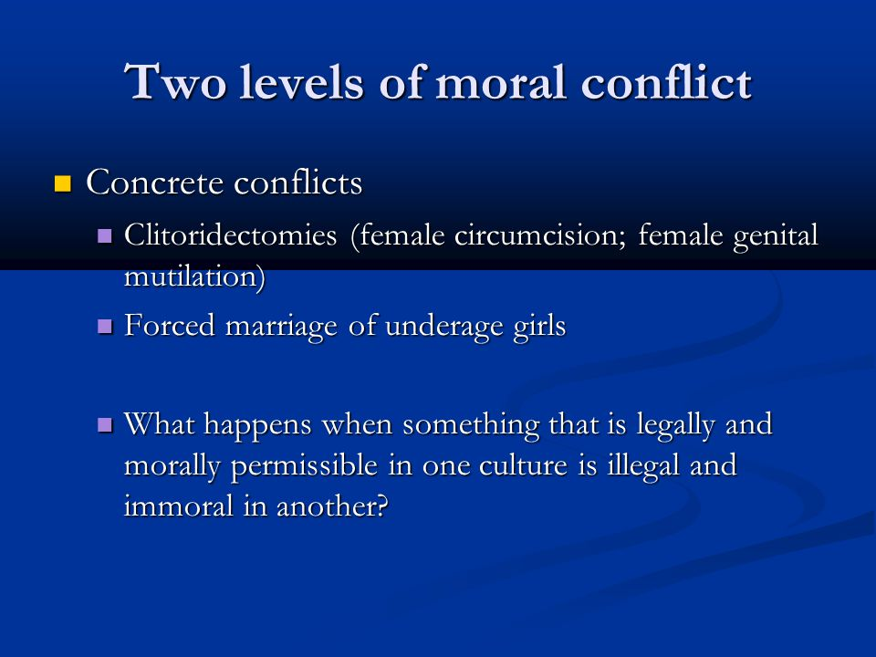 Two levels of moral conflict