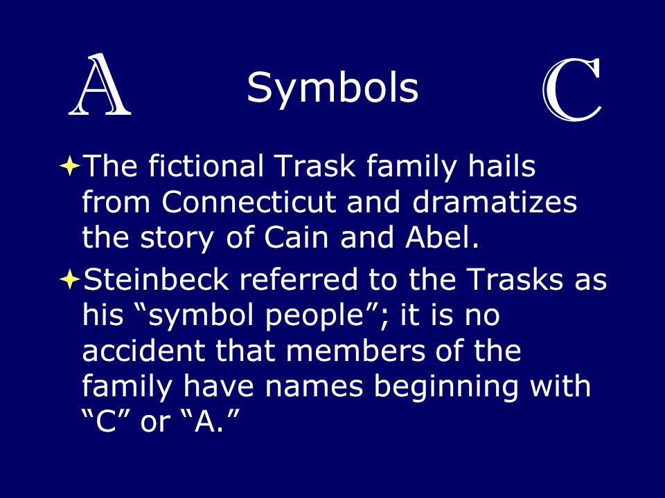 A C. Symbols. The fictional Trask family hails from Connecticut and dramatizes the story of Cain and Abel.