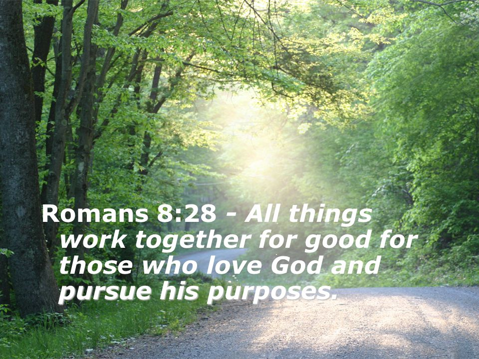 Romans 8:28 - All things work together for good for those who love God and pursue his purposes.
